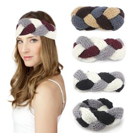 Wholesale Cheap Head Bands - Women Knitting Headbands Braided Girls Head Bands Crochet Winter Warm Headwrap Fashion Hairbands Hair Accessories 4 Colors Cheap Sale