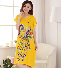 Wholesale White Cotton Nightgowns Wholesale - Wholesale- Yellow Print Peacock Lady's Summer Robe Cotton Short Sleeve V-Neck Robe Nightgown Sleepwear Kaftan Bath Gown One Size NR215