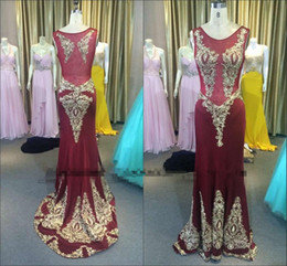 Wholesale Detailed Formal Dresses - 2016 Burgundy Real Image Sheer Neck Dresses Party Evening Wear Stunning Detail Sparkly Beaded Mermaid Dubai Arabic Prom Formal Party Gown
