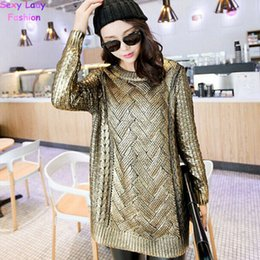 Wholesale Cable Knitwear - Wholesale-Vintage Bronzing Golden Color Mid Long Sweater Retro Cable Twist Knit Ribbed Panel Jumper Vintage Women's Knitwear Tops Gold