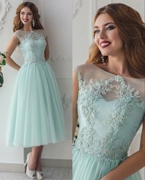 Wholesale Tea Length Bridesmaid Dresses Tulle - Lace Beaded 2016 Beach Bridesmaid Dresses Sheer Neck A-line Tea Length Maid Of Honor Dresses Mint Vintage Evening Party Dresses