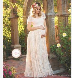 Wholesale Maternity Maxi Dresses For Summer - 2017 New Lace Maternity Dresses For Pregnancy Woman Ruffles Petal Elegant Loose Summer Long Maxi Casual Floor-Length Dress Plus Size 4XL