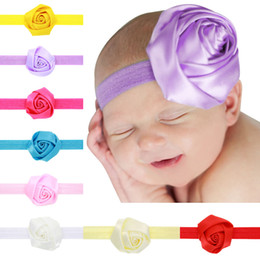 Wholesale Print Big Photos - little girl holiday flower headband with big rose printed flower baby photo props headband first birthday gift Children's Day headwear