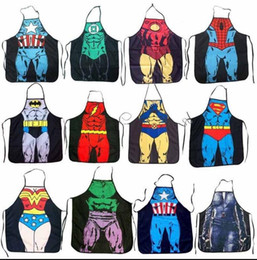 Wholesale Sexy Costume Super - Cooking Kitchen Apron Marvel Super Hero Funny Cosplay Costume Men Women BBQ Party Sexy Dinner Baking Apron KKA2222