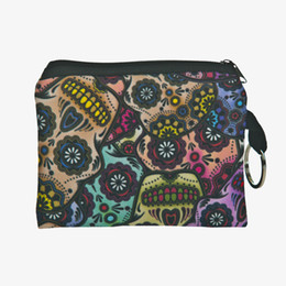 Wholesale Change Korean Fashion - Wholesale 3D Printing Mexico Skull Coin Purse Wallet Phone Key Pouch Bag Mini Change Purses Wallets
