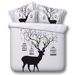 Wholesale Outer Space Bedding - Bright White Elk 3D Bedding Sets Universe Outer Space Duvet cover Bed Sheet   Fitted Bed Sheet pillowcase Twin Full queen size