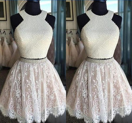 Wholesale Cheap Homecoming Ball Gowns - 2017 Short Two Pieces Prom Dresses Jewel Open Back Pearls Beads Lace Ball Gown Cheap Homecoming Dress Party Evening Gowns