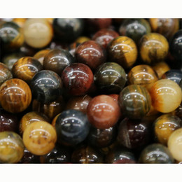 "Wholesale Loose Tiger Eye Beads - Wholesale- Wholesale Natural Genuine Mix Color Tiger Eye Stone Round Loose Stone Beads 3-18mm Jewelry DIY Necklaces or Bracelets 15"" 03576"
