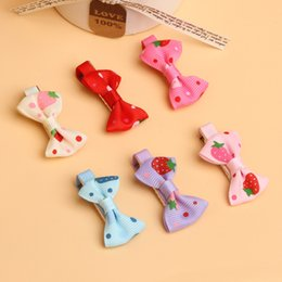 Wholesale Toddler Girls Strawberry Hair Clip - Wholesale- Baby Toddler Girls Hair Clips Ribbon Bow Kids Strawberry Satin Bowknot Hairpin 6 Colors Drop Shipping BB-099