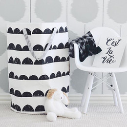 Wholesale Fabric Baskets Handles - Baby Canvas Fabric Toys Storage Bag Organizer Kids Round Storage Basket with Handle Folding Laundry Hamper Bag Pouch for Clothes 40X50CM