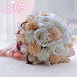 Wholesale Country Style Bags - PE Beautiful Bridal Wedding Bouquet Vintage Country Style High Fidelity Bridesmaid Flowers Colorful Top Quality Wedding Accessories