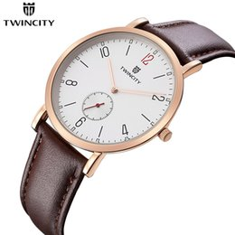 Wholesale Business Casual Hombre - TWINCITY TOP ultra thin Men Quartz Watch Slim Casual Wristwatch Business Stainless Steel Analog women Quartz Watch Men's Relojes Hombre