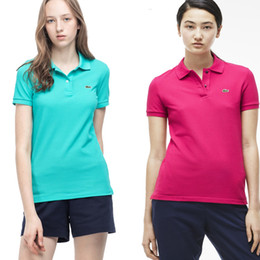 Wholesale Famous Shirts Women - 2017 summer women solid color polo shirts famous brand polo shirt women slim women solid color polo shirts