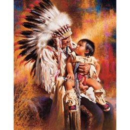 Wholesale Indian Stitch - Indians hand Baby DIY Mosaic Needlework Diamond Painting Embroidery Cross Stitch Craft Kit Wall Home Hanging Decor