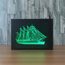 Wholesale Candle Boat - 3D Boat LED Photo Frame Decoration Lamp IR Remote 7 RGB Lights DC 5V Factory Wholesale Drop Shipping