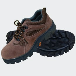 Wholesale Shoe Soles Gel - Men Two layer embossed leather Boots Work Shoes Safety Protective Shoes Non-slip Shock absorption Wear-resistant PU sole brown