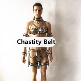 Wholesale Handcuffs Chastity - 5 8in1 Stainless Steel Male Chastity Devices Chastity Belt +Collar+Bra+Handcuff+Arm Ring+Thigh Rings with Chain Sexy Bondage Kit G7-4-43