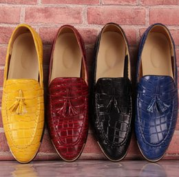 Wholesale Yellow Dress Shoes Men - High quality new design unique genuine leather men shoes zapatos hombre snake luxury brand formal casual mens loafers shoes