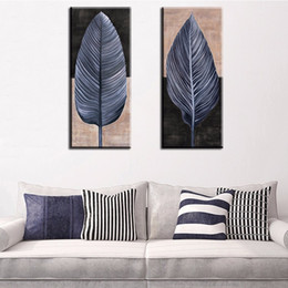 Wholesale Canvas Wall Art Ideas - 2 piece vintage leaf top decorative wall paintings for home decor idea oil painting art print on canvas No Framed !