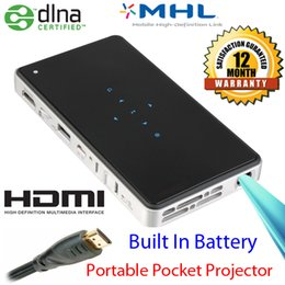 Wholesale Mhl For Android - Wholesale-DLP Pico Projector Built In Battery MHL HDMI For Android Phone Support Wifi-Display HD Beamer 3D Protable Projektor Proyector