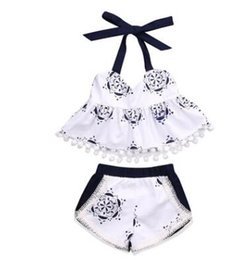 Wholesale Chinese Outfits - Baby Girls Clothes Sets Blue and White porcelain 2pcs Outfits Set Chinese Style Girls Sunsuit Tassel Vest+Shorts Ins Clothes 608