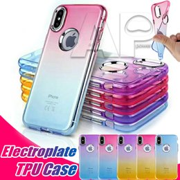 Wholesale Wholesale Shell Buttons - Soft TPU Cell Phone Cases For IPhone X 6s 7 8 plus With Hard Button Shell Ultra Thin Gradient Color Protective Back Covers