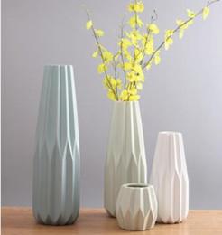 Wholesale Design Ceramic Vase - High Design European Modern Simple White Green Blue Ceramic Vase Geometric Porcelain Flower Receptacle Home Decoration Vase