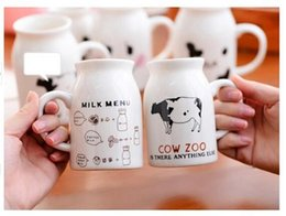 Wholesale Children Breakfast - Mug Cows illustrations ceramic cup Breakfast cup milk Children Smile Mug Trumpet couple cups 60pcs Free DHL Fedex