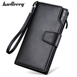 Wholesale European Style Vintage Gold - Fashion New Baellerry Luxury Brand Men Wallets Long Men Purse Wallet Male Clutch Leather Zipper Wallet Men Business Male Wallet Coin Pocket