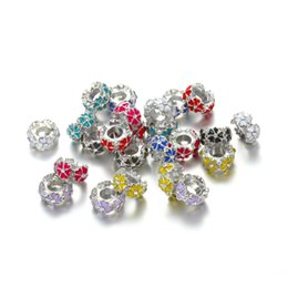 Wholesale spacer flat - Colorful Primrose Making Silver Charm Beads Silver Flower Spacer Bead For Bracelets For Jewelry Making DY66