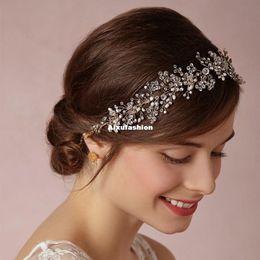 Wholesale High End Crowns Tiaras - 2017 Silver gold High-end Tiara Luxury Bridal Headband Handmade Headdress Wholesale Pearl Hair Jewelry Wedding Hair Accessories Crown Tiaras