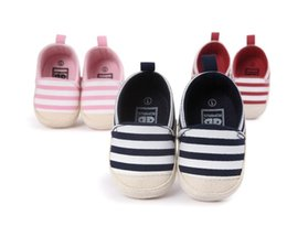 Wholesale Learn Walk Shoes - Striped canvas mouth leisurely lazy learning girl toddler shoes 2017 Spring child soft bottom baby indoor stumble shoes kid walking shoes Z1