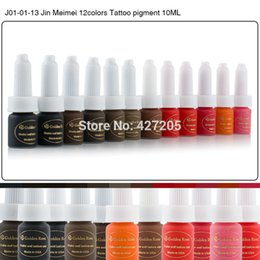 Wholesale Eyebrow Tattoo Ink Sets - Wholesale-Golden Rose Permanent Makeup Ink Eyebrow Tattoo Ink Set 10ML 12 Colors Lip Microblading Pigment Professional Encre A Levre