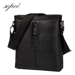 Wholesale Cross Textures - Wholesale-SCPEE Men 100% Leather Shoulder Bag Casual Bag Casual Bag Briefcase Free Shipping crocodile texture