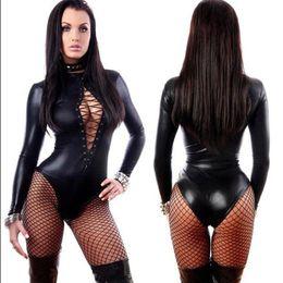 Wholesale Hot Erotic Women - Hot Women Sexy Black Vinyl Leather Lingerie Bodysuits Erotic Leotard Costumes Rubber Flexible Latex Catsuit Catwomen Costume