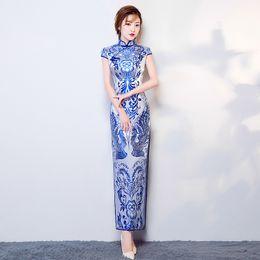 Wholesale Oriental Print Dress - Chinese Traditional Phoenix patterns Dress Long Cheongsam elegant Qipao Robe Chinoise Oriental Style dress Wedding Chirpaur Vintage Dresses