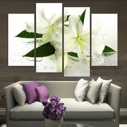 Wholesale Lily Paintings Art - 4pcs set Unframed Lily White Flower wet Oil Painting On Canvas Giclee Wall Art Painting Art Picture For Home Decor