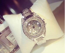 Wholesale Womans Buckles - Relogio Feminino Luxury Famous Brand Women Dress Watches Steel Quartz Watch Diamonds Gold Watches for Womans Casual Wristwatch