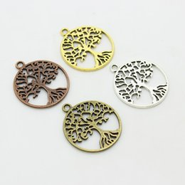 Wholesale Production Jewelry - Sweet Bell 25*29mm Four color Vintage Metal Alloy Round Hollow Peace Tree Charms Jewelry Pendants Diy production D0385