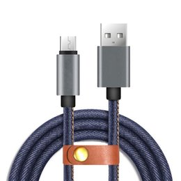 Wholesale Iphone Fabric Sync - Denim Fabric Micro USB Cable 3.3ft 1m High Speed Charging Sync Fast Data Transfer Cable Cord for Android Cell Phone Accessories