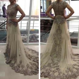 Wholesale Kleider Prom - Elegante Evening Gowns Lange Abendkleider 2017 Abaya Dubai Kaftan Perlen Applique Spitze Abschlussball-kleider Robe De Shining 2017
