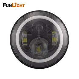 """Wholesale Led Projector Headlights Motorcycle - Free shipping 7"""" Harley Motorcycle H13 Harness Projector Daymaker LED Headlight With Angel Light For Harley Davidson moto"""