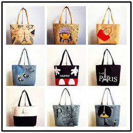 Wholesale Wholesale Zebra Shopping Bags - Handbag New Printing Lovely Zebra Canvas Bag Shopping Bag Girl's Shopping Shoulder Bags Women Handbag Beach Bag Tote HandBags Shopping