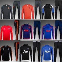 Wholesale Track Suit Pants Men - Whosales New gdMaNchEsTer Survetement 16 17 Traning suit 2017 Ibrahimovic Pogba track suit Coat and Pant Long Full sport