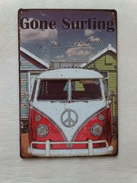 Wholesale Vintage Beach Painting - Gone Surfing Life's Better at the Beach Vintage Rustic Home Decor Bar Pub Hotel Restaurant Coffee Shop home Decorative Metal Retro Tin Sign