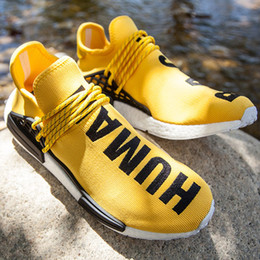 Wholesale Mens Hip Hop Shoes - Hip-hop star Pharrell Williams NMD Shoes,Highly Anticipated NMD Human Race Sneaker,yellow black Mens Womens Trainers With Box