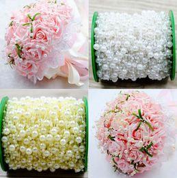 5 metri beige / bianco / rosa linea di pesca artificiale perle perline catena ghirlanda di fiori per la decorazione di nozze bouquet da sposa decorazione floreale da