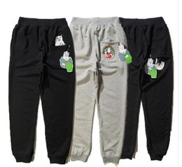 Wholesale Ape Clothing - RIPNDIP Full Length Pants ape Men Women pants Fashion Trend High Quality Cotton Brand Clothing Hip Hop Skateboard Trousers Homme