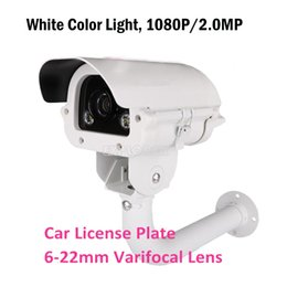 Wholesale Hd Waterproof Cctv Camera - CCTV Surveillance Camera White Light Car License Plate AHD Camera 1080P Sony IMX291 Varifocal Lens 6~22mm with Bracket KA-6087BZQW