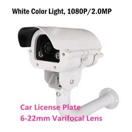 Wholesale Outdoor Car Camera - CCTV Surveillance Camera White Light Car License Plate AHD Camera 1080P Sony IMX291 Varifocal Lens 6~22mm with Bracket KA-6087BZQW
